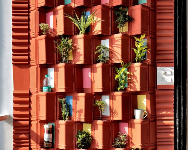 vertical garden made from clay tiles