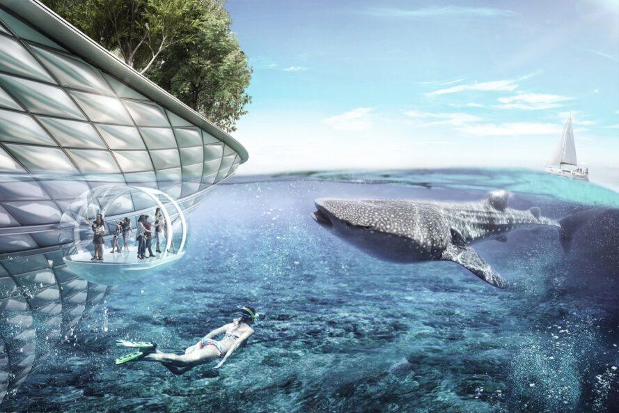 rendering of whale approaching people withing a clear bubble dome structure on the ocean