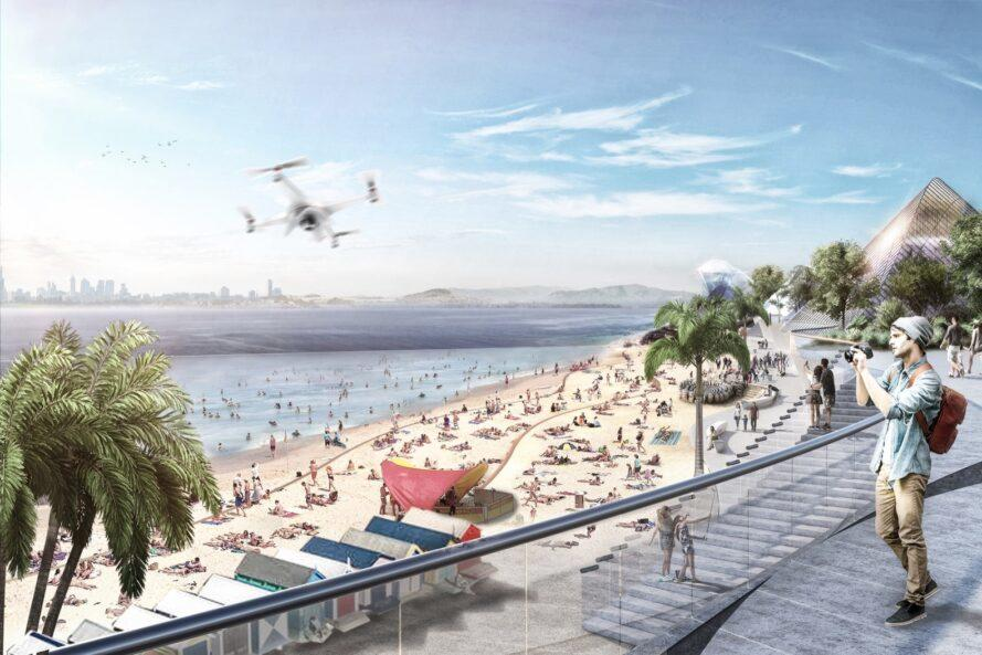 rendering of drone flying over people hanging out on a beach