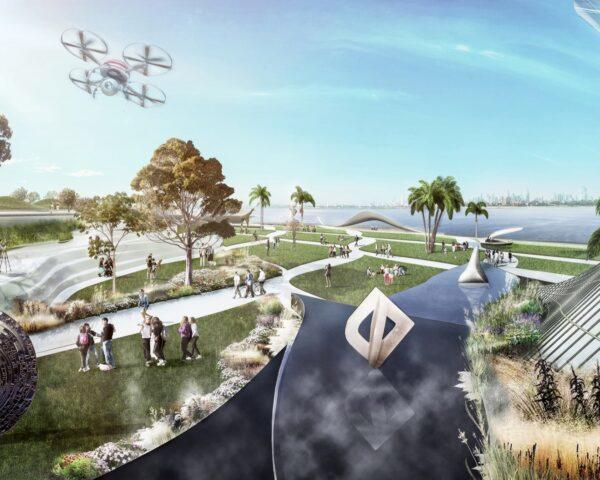 rendering of people walking through a park on a small island