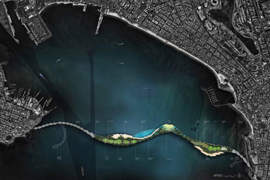 rendering of linear park island off the coast of Australia