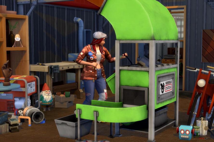 screenshot of The Sims, with a character standing next to a green machine