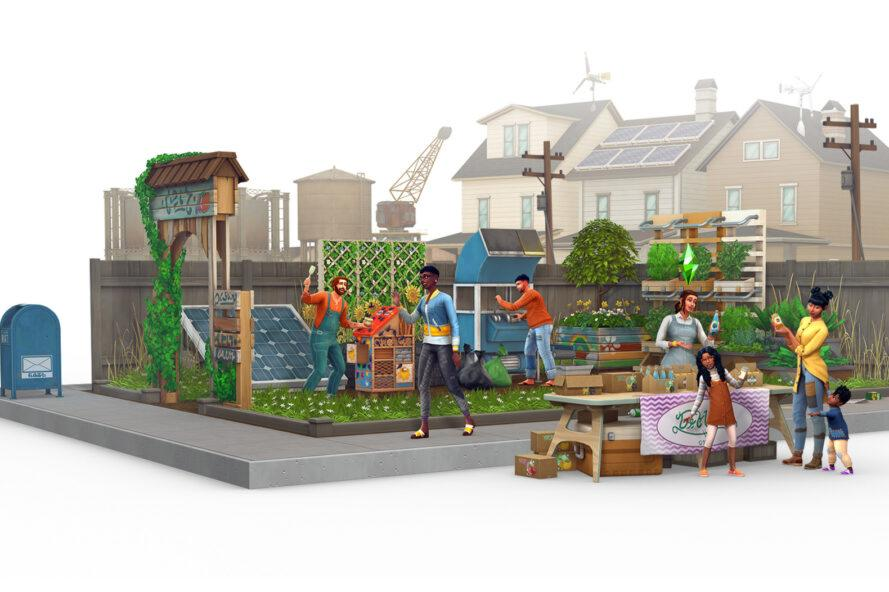 Sims-style artwork of a city block with Sim characters gardening and selling crafts