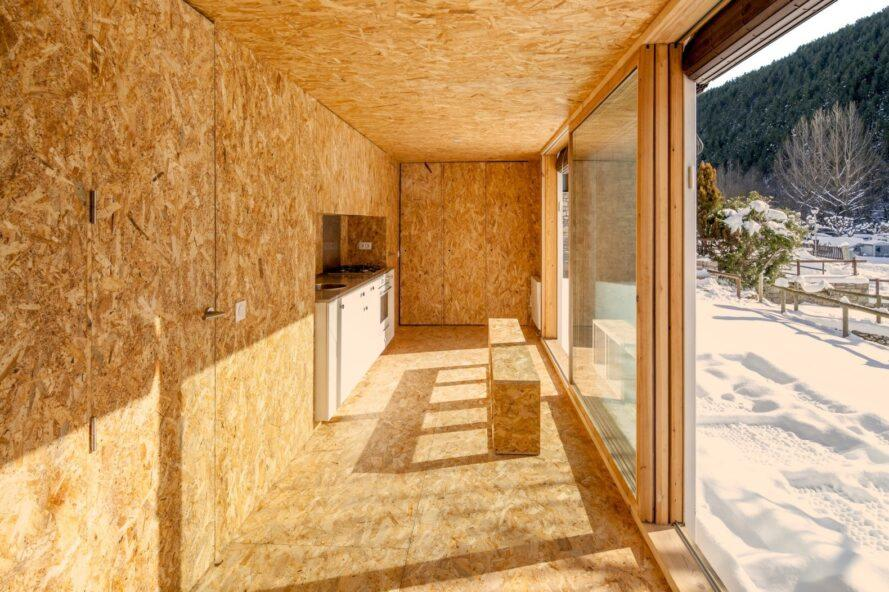 interior space made up of plywood panels
