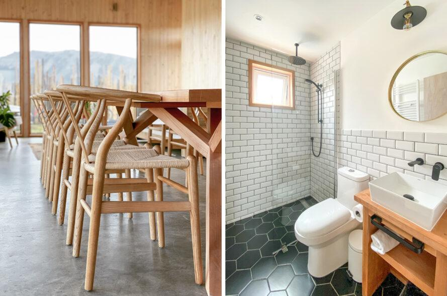 On the left, closeup of wood chairs. On the right, modern bathroom with dark floor tiles and white subway tiles on the walls