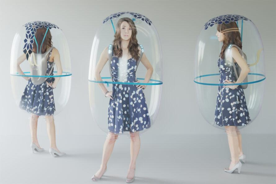 rendering of different angles of a bubble-like shield shrouding a person