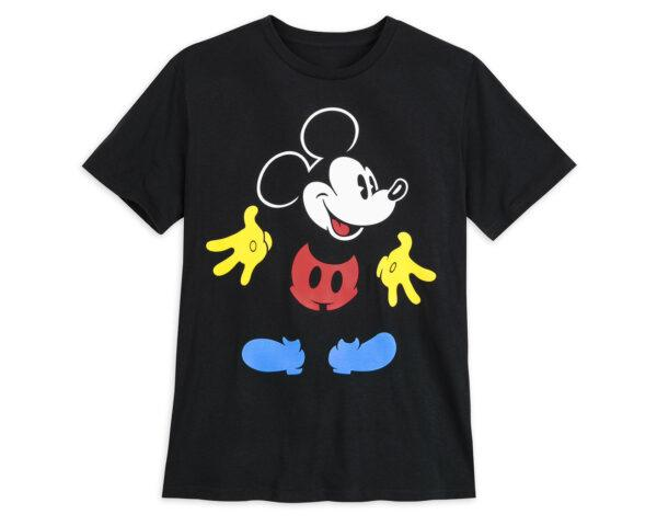 a black t-shirt featuring a graphic of Mickey Mouse