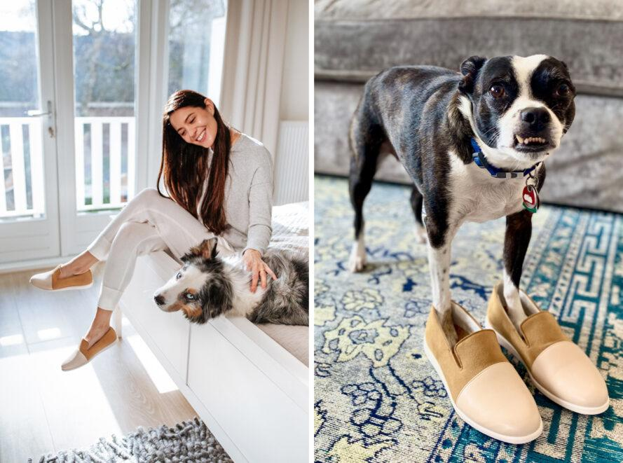 On the left, person wearing tan loafers and petting a dog. On the right, a dog with its paws in a pair of tan loafers.