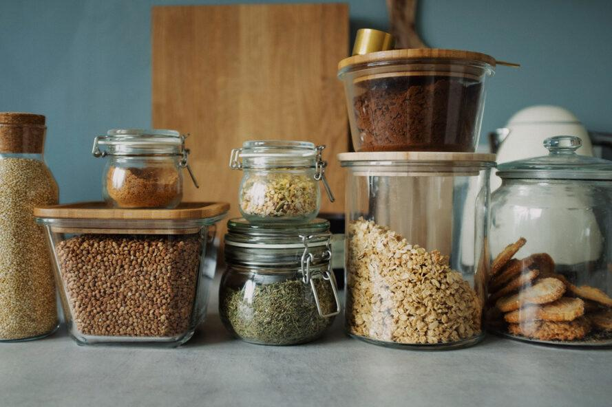 a display of several glass food storage containers