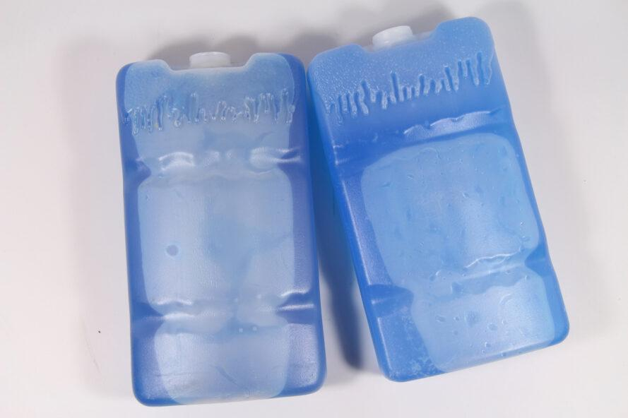 two blue plastic ice packs