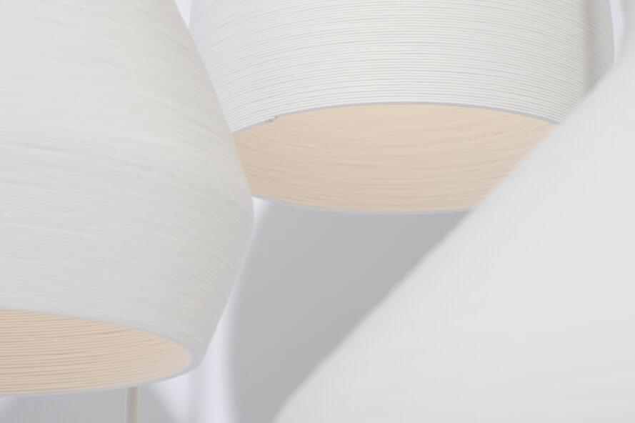 close-up of white 3D-printed pendant lights
