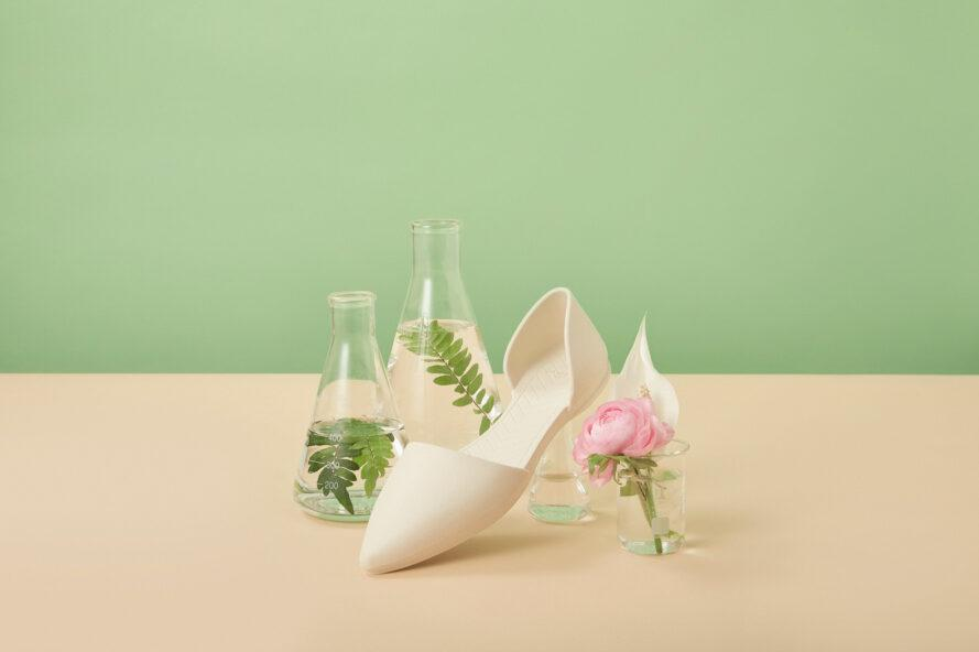 white flat shoe near vases of flowers
