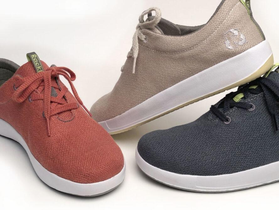 red, tan and navy blue hemp shoes on a white background