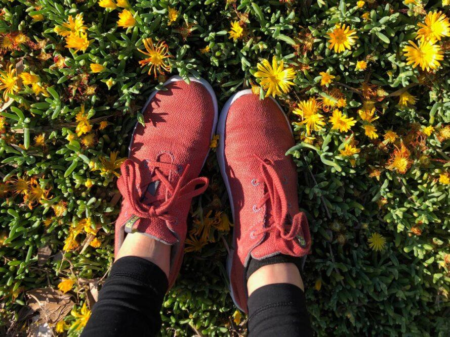 person wearing red hemp shoes while standing in field of yellow flowers