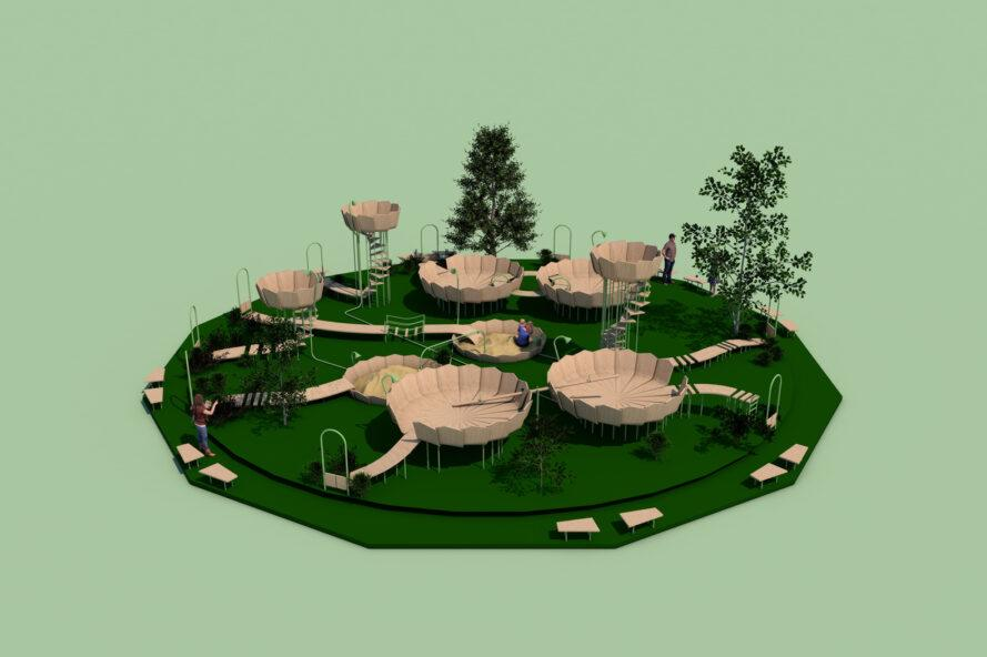 3D-model of round wood platforms arranged in a cluster