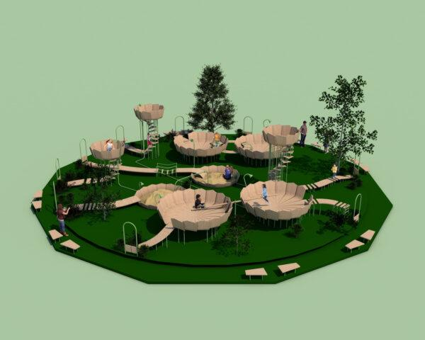 3D-model of kids playing on round wood platforms