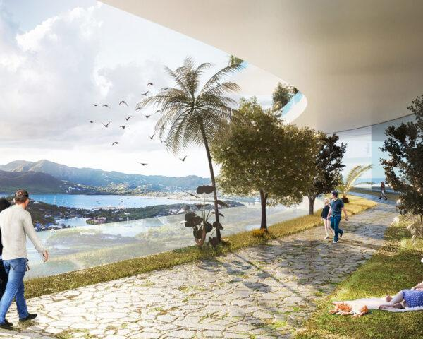 rendering of people walking along a path while taking in views of mountains