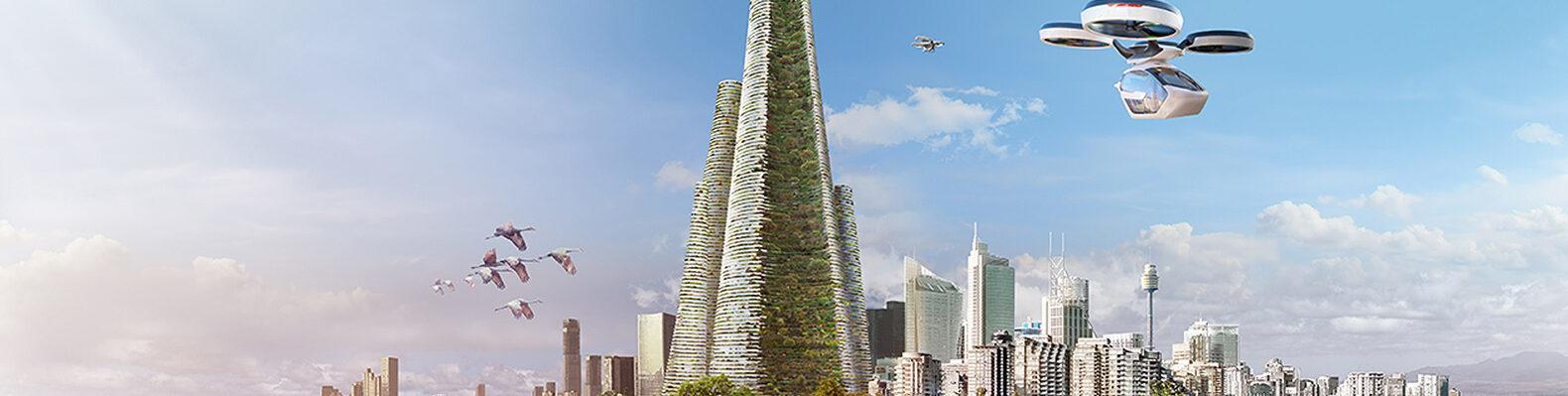 rendering of conical tower covered in greenery