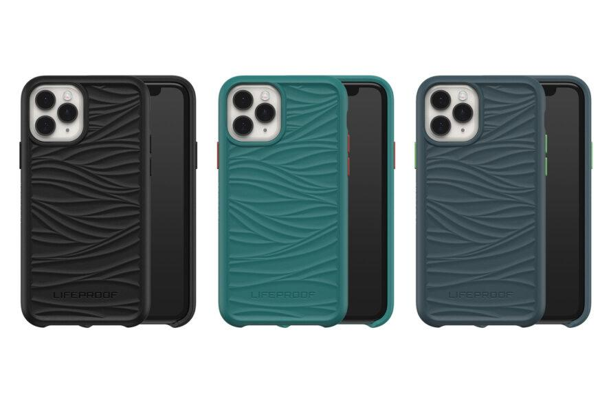 a series of three phone cases with wavy designs in black, teal and blue-grey, with a slide-out compartment showing