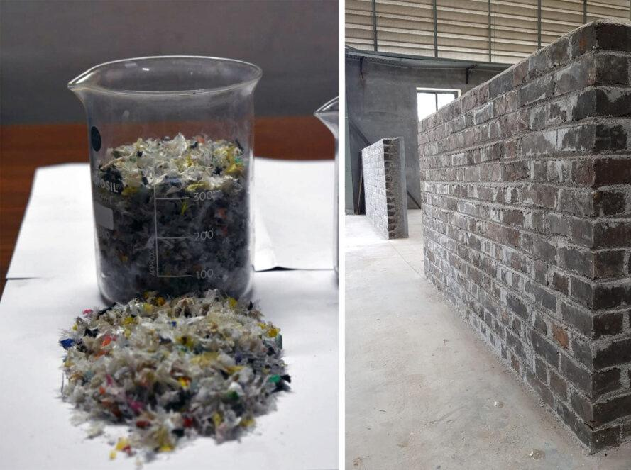 two images: to the left, a clear cup full of shredded plastic waste, with a small pile of shredded plastic waste in front of the cup. to the left, a wall made of SPBs.