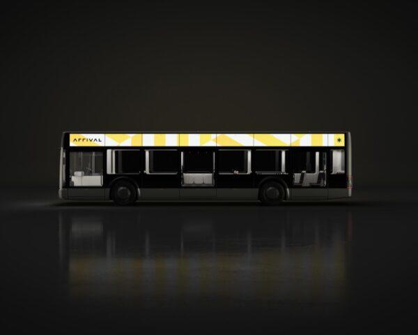 rendering of dark electric bus with bright lights around the top
