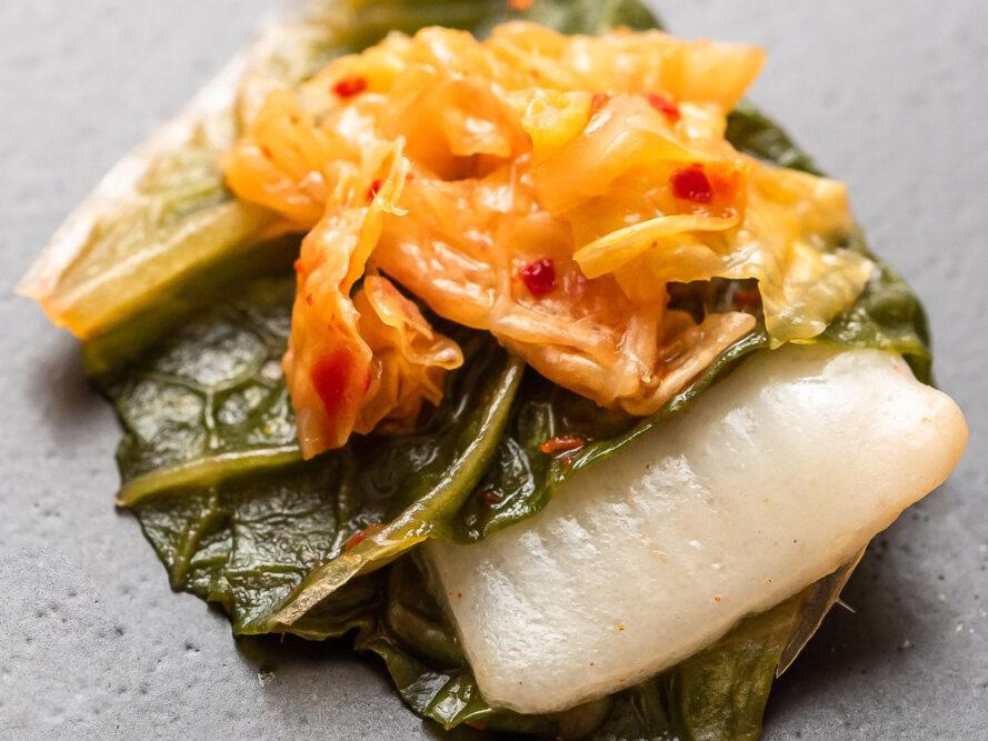 BlueNalu's whole-muscle, cell-based yellowtail prepared in acidified form in a kimchi recipe