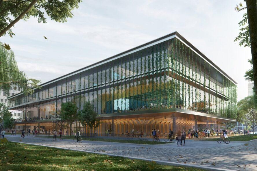 rendering of large glass education building