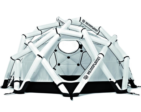 a white and black geodesic tent