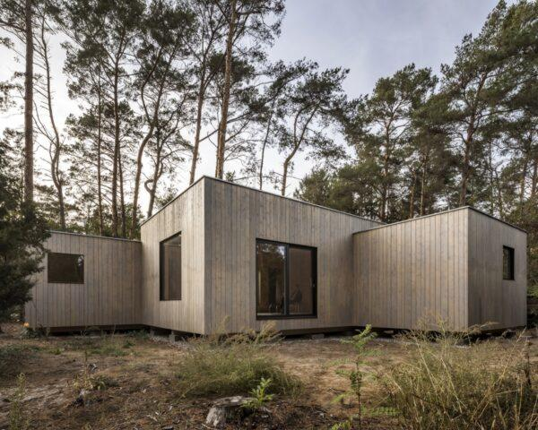 wood cabin with three cube volumes