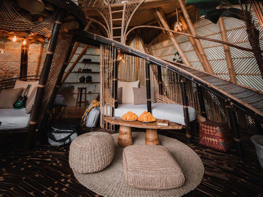 wicker furnishings in a bamboo structure