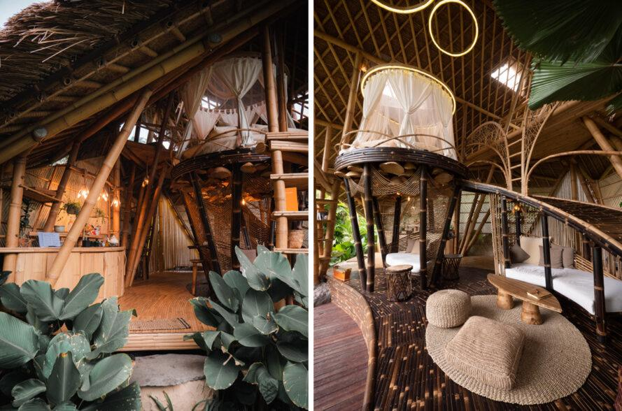 bamboo structure with a small kitchen and an elevated round bed