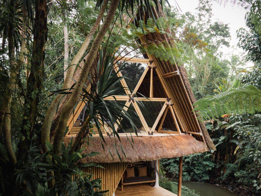 pitched bamboo structure with triangular windows