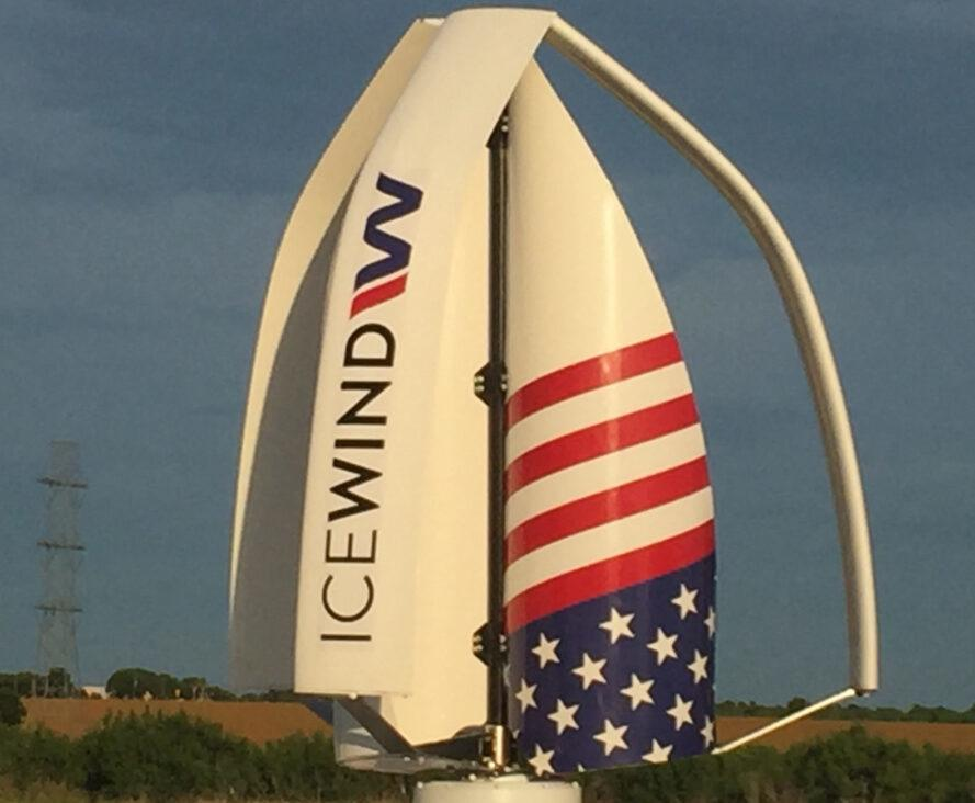 vertical wind turbine with an American flag print