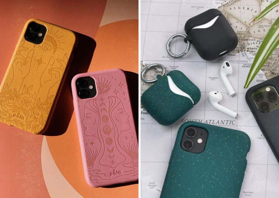 On the left, pink and yellow phone cases on orange background. On the right, phones with green and black cases next to earbuds with black and green cases