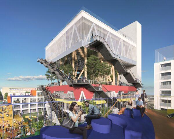 rendering of people on blue sofas on a terrace across from large building with forested top floor