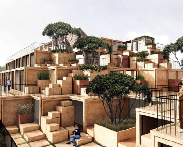 rendering of stacked prefab wood cubes