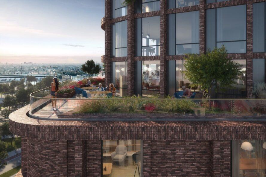 rendering of roof terrace on a tower with several plants