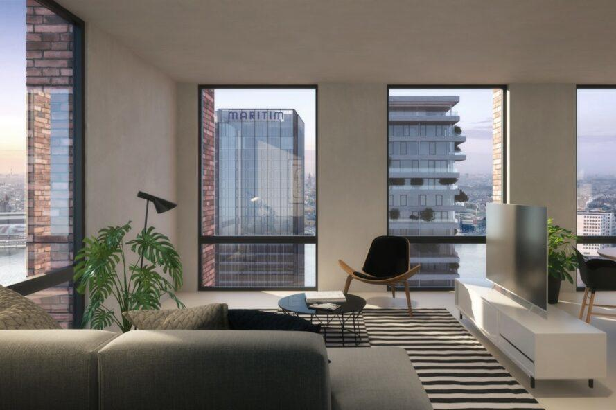rendering of minimalist apartment with full-height windows