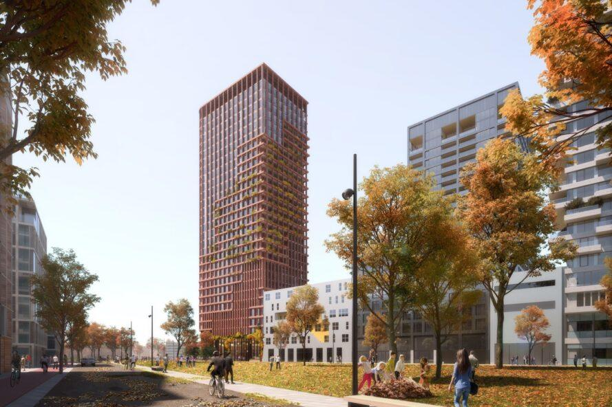 rendering of tall red tower