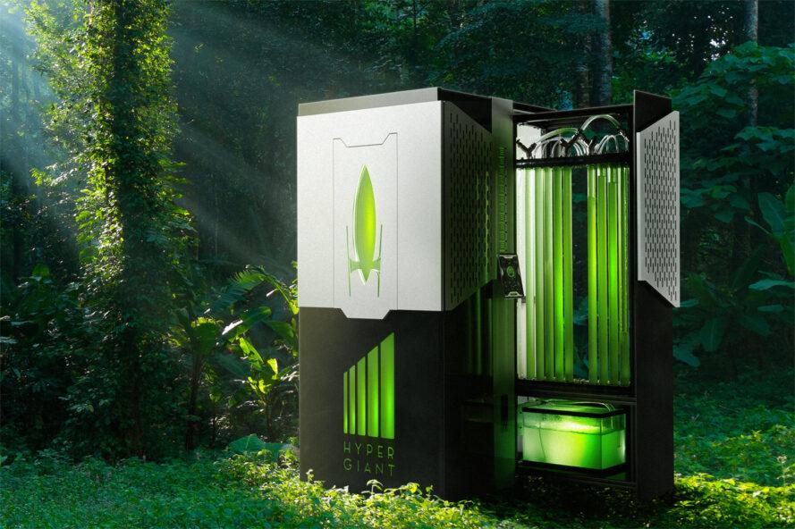 rendering of small bioreactor device in a forest