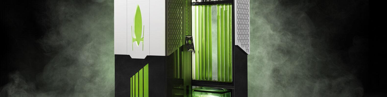 rendering of algae bioreactor on a smoky background