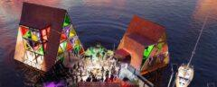 rendering of people dancing on boardwalk in the middle of three pyramidal structures