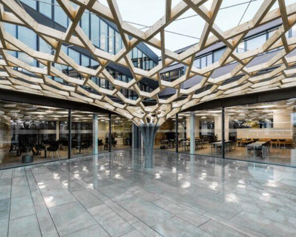 timber patterned canopy attached to office building