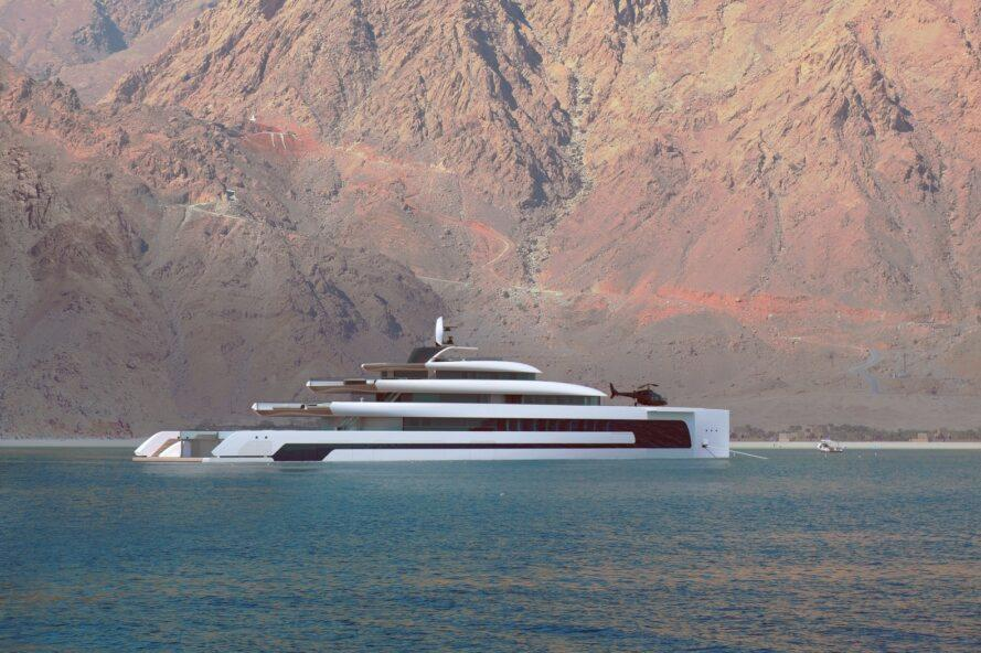 rendering of elongated yacht with multiple decks in front of a large rocky mountain