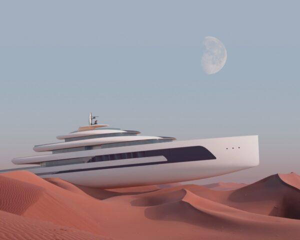 rendering of large yacht on sand dunes
