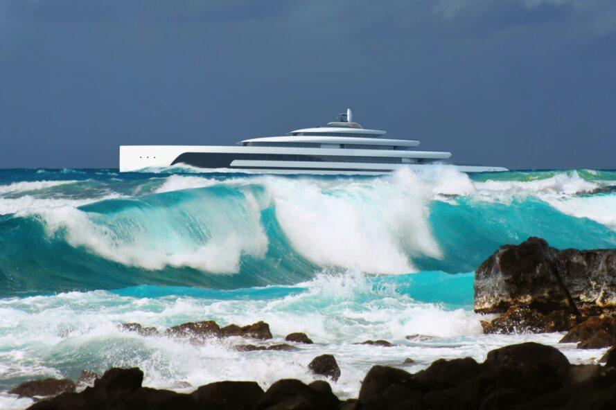 rendering of waves crashing and a long yacht on the horizon