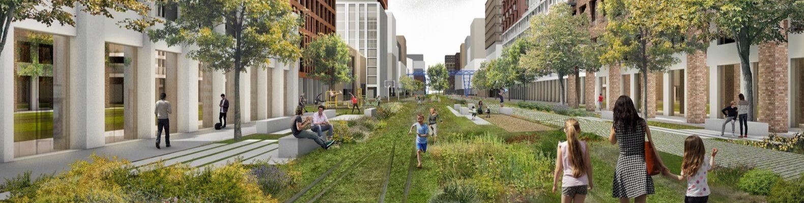 rendering of large linear park covered in grass