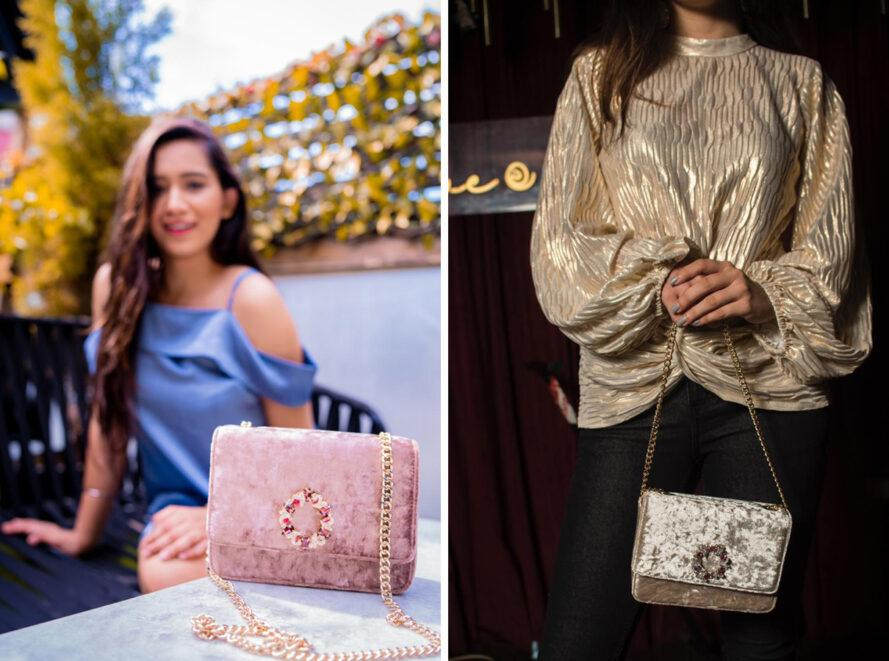 On the left, person sitting with pink velvet purse. On the right, person in gold blouse carrying a gold velvet purse