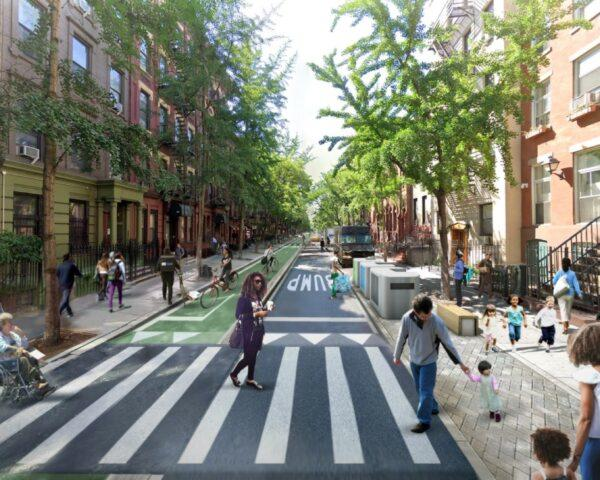 rendering of people walking on crosswalk free of cars in New York City