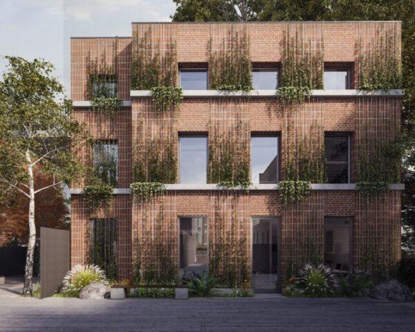 rendering of brick building with creeping vines